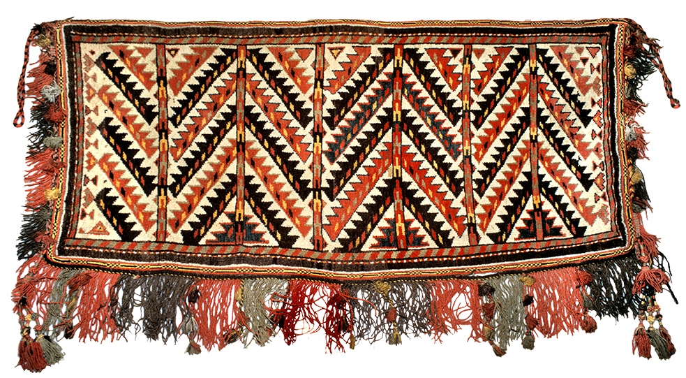 Karakalpak pile bag face, early 20th century, using a motif commonly found on Yomut weavings. USMH 45-47
