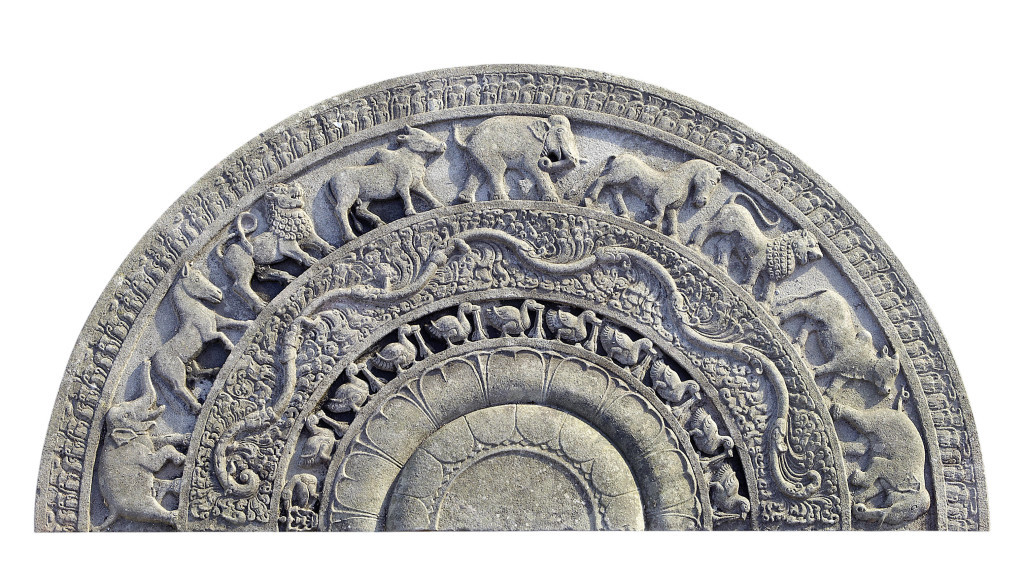 Sinhalese granite temple step, Sri Lanka, Anuradhapura period. Bonhams London, 23 April 2013, sold for £533,250/$810,540
