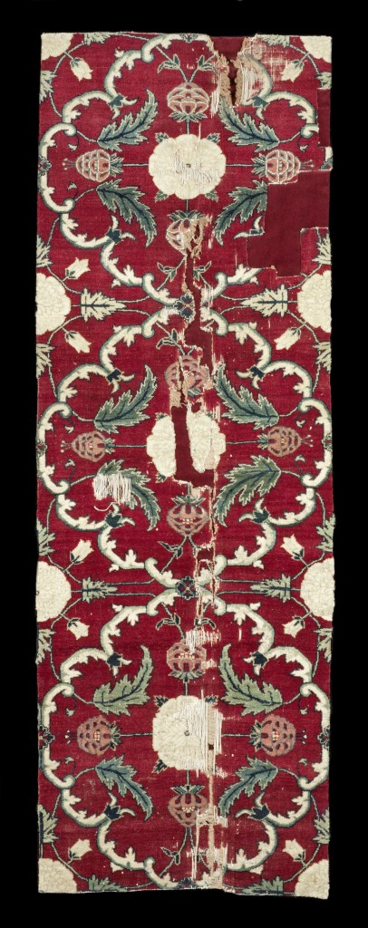 Mughal pashmina floral lattice carpet fragment, north India, 17th century.