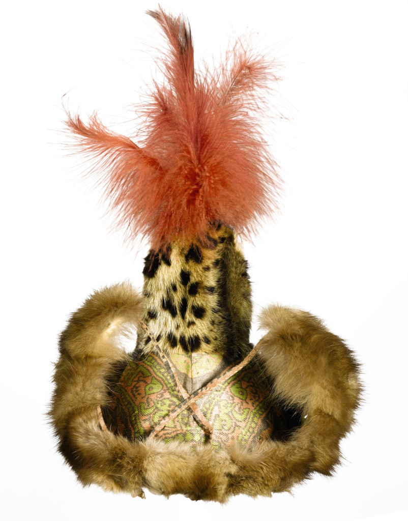Central Asian feather, fur and silk hat (above) and silk robe with fur lined cuffs and collar (below), 11th-12th century. Sotheby's London, 24 April 2013, sold for £242,500/$369,860