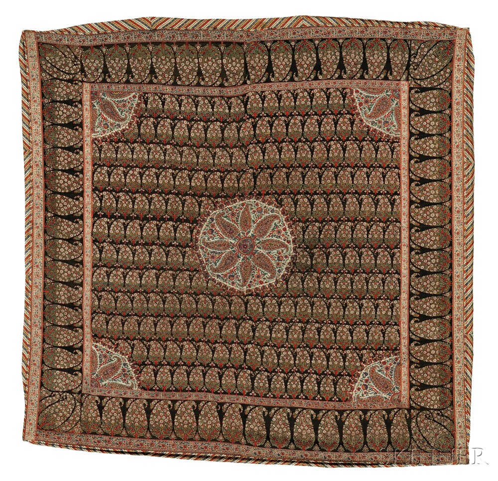 "Kashmir ""Moon"" Shawl, north India, first half 19th century, (several holes to black field, very small repair), 5 ft. 6 in. x 5 ft. 6 in. Lot 119, estimate $10,000-15,000"