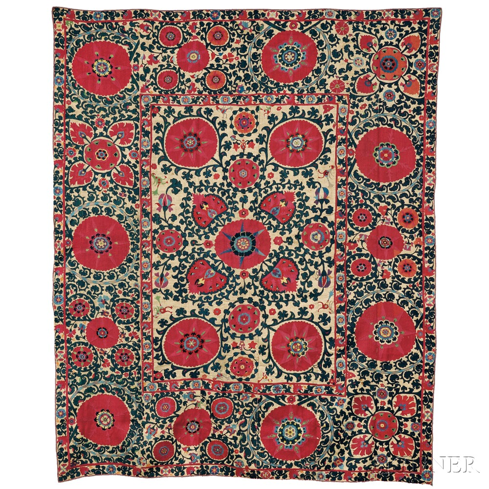 Shahrysyabz suzani, Uzbekistan, 19th century, (very small crude repair in center), 8 ft. 7 in. x 7 ft. 2 in. Lot 118, estimate $2,000-3,000