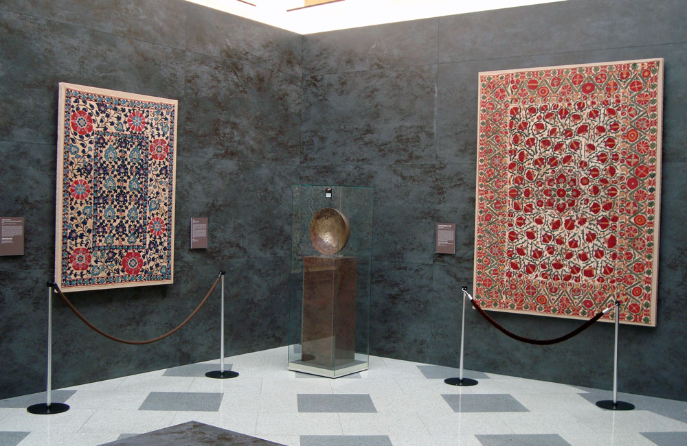 Suzani embroideries from the Mardjani Collection on show at the Pushkin Museum, Moscow