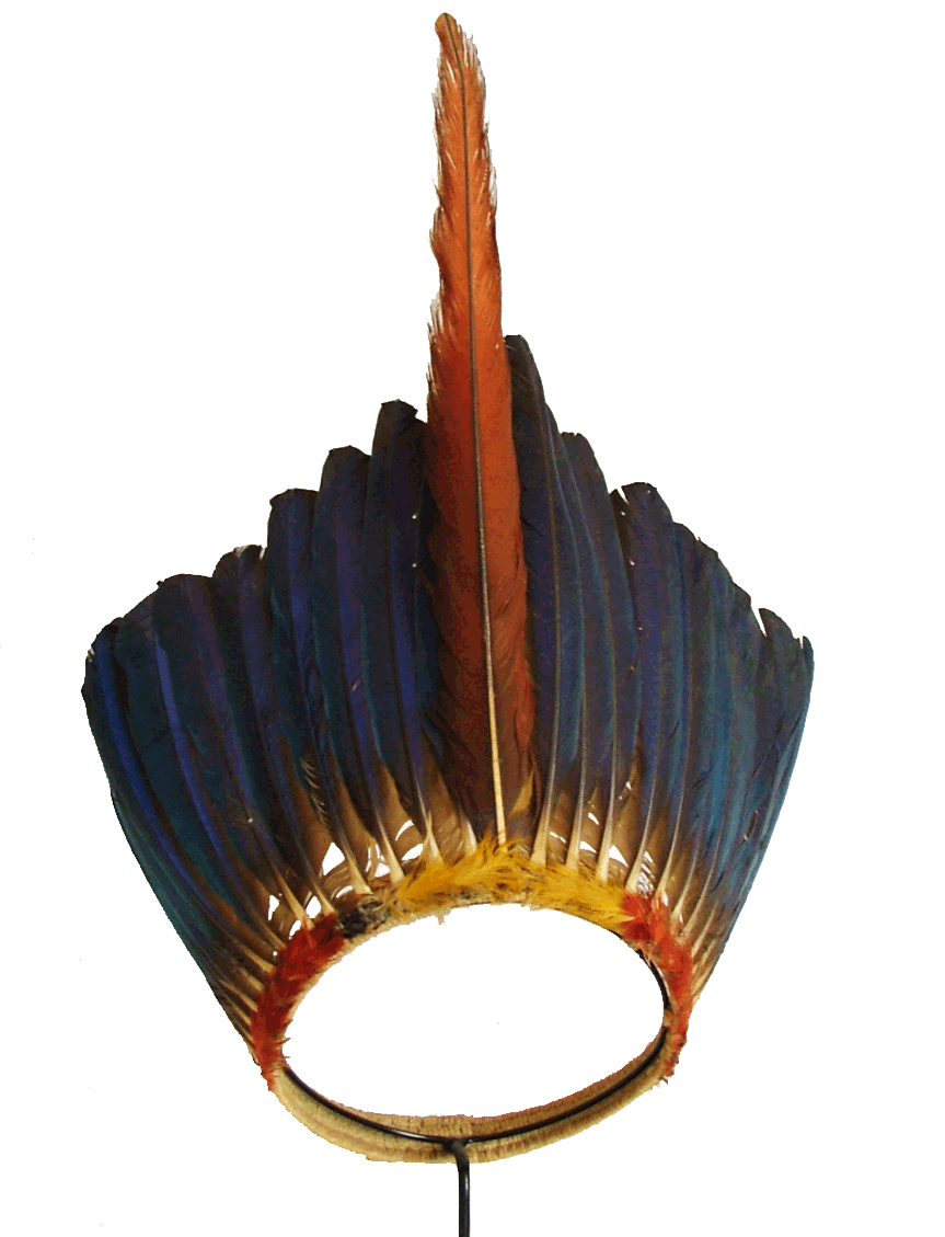 Amazonian macaw feather headdress on a cane and cotton band, Jivaro, lowlands, 1st half of the 20th century. Stothert & Trice, London