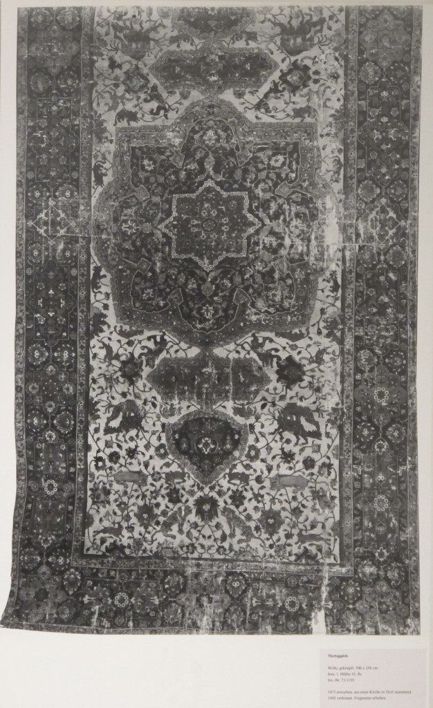 Inv. Nr. KGM  73,1195. White-ground carpet (506 x 256 cm). North Persia, second half of the sixteenth century. Acquired 1873 from a church in the Tyrol.