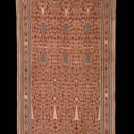 Pua Kombu Iban Dayak Borneo Ritual Cloth with indigo stylized floral elements, Cotton, ikat, late 19th C, 93 x 45 in /  236 x 114 cm