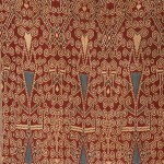(detail) Pua Kombu Iban Dayak Borneo Ritual Cloth with indigo stylized floral elements, Cotton, ikat, late 19th C, 93 x 45 in /  236 x 114 cm