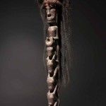"(detail) Uncommon ""animal style"" Tunggal Panaluan Shaman's Staff, Batak tribe, North Sumatra, wood, hair, 19th century or earlier, 68 in / 172 cm"