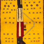 Afghan War rug, 1980s. the first production of war rugs, subsequent Soviet occupation of Afghan territories, in 1979, reproducing machine guns AK-47: the weapon used by the Russians who will become the main symbol of the Afghan rebels and liberation movements led by the mujahideen . These rugs were used as propaganda inciting the population to take up arms against the invading enemy. 90 x 60cm