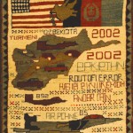 "Afghan war rug, early 21st century. The last productions are dedicated to war and terror. This carpet contains a map of Afghanistan and the military campaign Enduring Freedom. The writing should be interpreted but they mean ""the road of Terror"",  90 x 60cm"