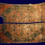 Two Al;caraz wreath carpet fragments, Spain, last quarter 15th century, 73 x 62 cm