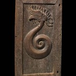 Chieftain's Door, Dayak, Borneo, Ironwood, 19th Century or earlier, An early Borneo door with mythical Water Dragon motif, note fine adze lines, 4 x 25 in / 137 x 63.5 cm