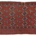 Lot 1. Salor Turkmen Chuval, 1st half C19th. From the Dr. Werner Loges Collection of Turkoman Rugs. - Repaired, damaged, low pile. 81 x 139 cm (published Klieber, Turkestan. Geschichte, Kultur, Volkskunst, Teppiche, 1991, p. 119). Estimate €3000