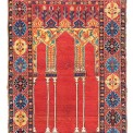 Lot 13 THE BERNHEIMER COUPLED-COLUMN PRAYER RUG WEST ANATOLIA, MID 17TH CENTURY 5ft.1in. x 3ft.7in. (155cm. x 108cm.) £50,000-80,000