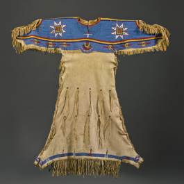 "Dress, Sioux , sinew and glass beads, 49 x 50"" Lot 108, estimate $10,000 - 15,000"