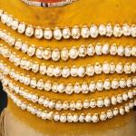 Girls dress (detail), Cheyenne, hide, brass bells and cowrie shells, length 32 1/2  Lot 15, estimate $60,000 - 90,000