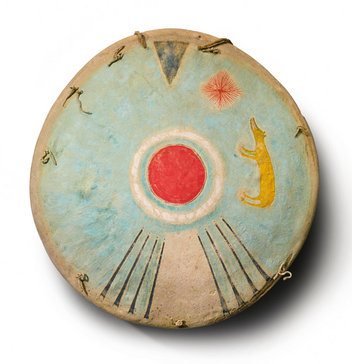 "Shield, Comanche, painted buffalo rawhide, 18"" Lot 18, estimate $300,000 - 450,000"
