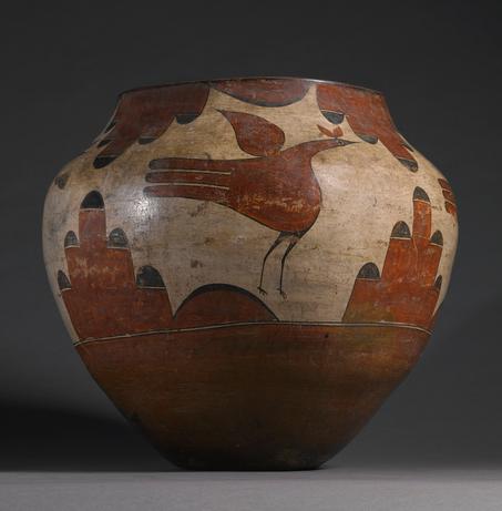 "Storage Jar, Zia, polychromed ceramic, height 18 1/2"" diameter 20"" Lot 30, estimate $50,000 - 80,000"