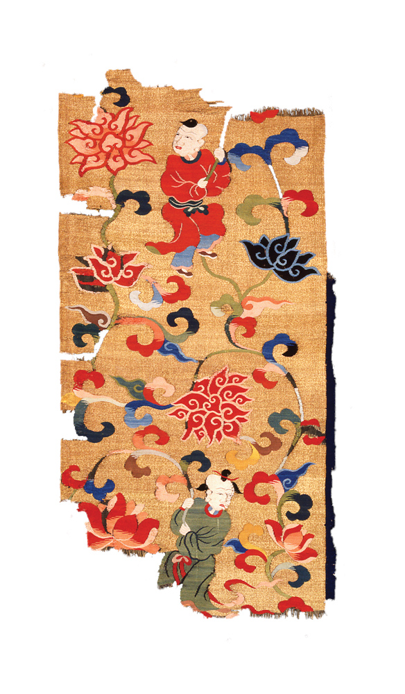 "Kesi , silk slit-tapestry fragment depicting boys carrying flowers,  China, Kangxi period (1662-1722),   0.52 m x 0.35 m  (1' 8"" x 1' 2""). Musée Guimet, Paris, Krishna Riboud Collection"