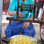 Hand-reeling silk from boiling cocoons