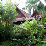Traditional teak houses in the garden of the Siam Society, Bangkok
