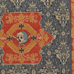 Alcaraz (?) carpet (detail), Spain, 1550 - 1600, V&A, London. On view in the Renaissance galleries the fine weave and low cut pile could easily lead someone to believe that this is a velvet on first glance. The four medallions containing skulls are memento mori. 250-1906