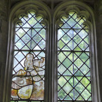St George and the Dragon, medieval stained glass, 14th century, Kelmscott Chapel, Gloucestershire