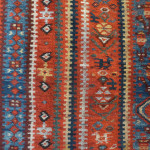 Khamseh (detail), SW Persia, circa 1875, a pile rug with a border design usually seen on slit weave kelims at Richard Purdon's shop, Burford