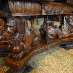 Seadog table, inlayed walnut, circa 1600 at Hardwick Hall, Derbyshire