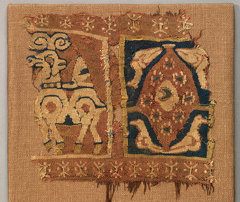 Band with ibex and birds surrounding a tree, Wool and cotton tapestry Egypt or Iraq 7th - 9th century