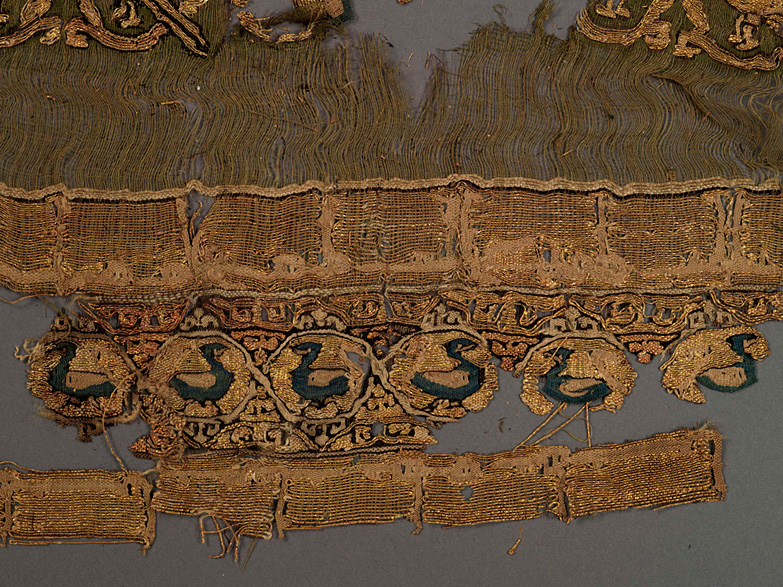 Qasab fragment, Linen tabby with silk and gold tapestry, Egypt, 11th century
