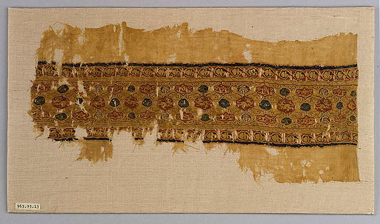 Tiraz fragment, Linen tabby with silk tapestry, Egypt, 12th century