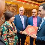 """Presenting Prof. Vidadi Muradov's """"Azerbaijani carpets Tabriz group"""" book in hebrew to Olga Slova, the diplomatic represantitve of Israeli Embassy in Russia"""