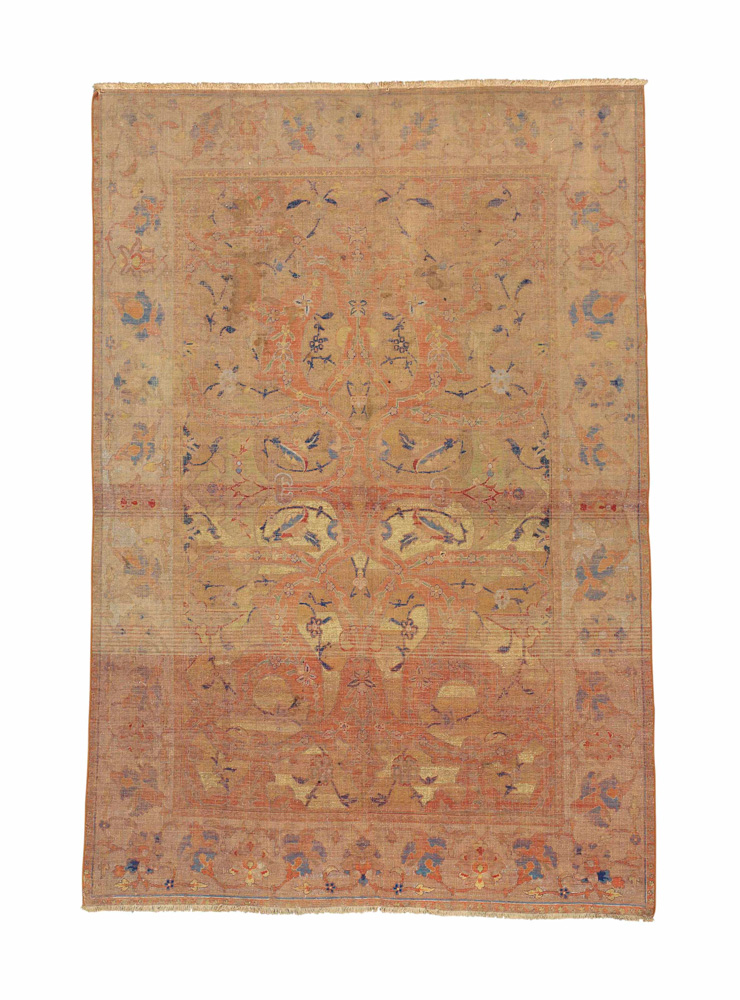European Noble and Private Collections Part II, South Kensington, 1  October, sale 5956 512 A SILK AND METAL-THREAD 'POLONAISE' RUG ISFAHAN, CENTRAL PERSIA, FIRST QUARTER 17TH CENTURY 6 ft. 8 in. x 4 ft. 7 in. (203 cm. x 138 cm.) £10,000-15,000 Provenance: The Barons Nathaniel and Albert von Rothschild