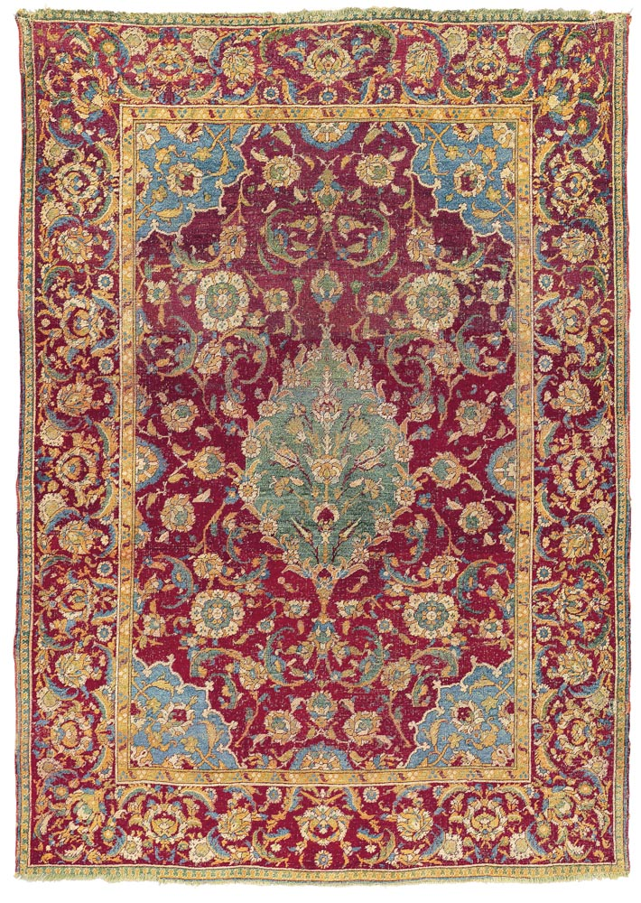 Lot 24. CAIRENE RUG OTTOMAN EGYPT, LATE 16TH OR EARLY 17TH CENTURY 6ft.5in. x 4ft.7in. (196cm. x 139cm.) £50,000-80,000