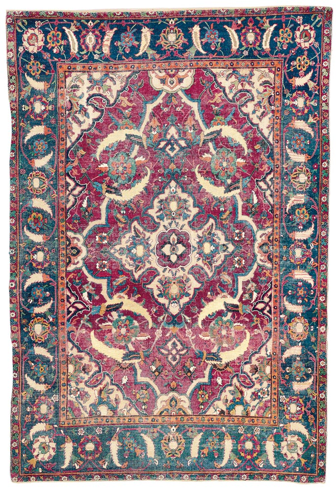 Lot 53. ESFAHAN PART-COTTON AND METAL-THREAD RUG CENTRAL PERSIA, SECOND QUARTER 17TH CENTURY 6ft.5in. x 4ft.4in. (194cm. x 131cm.) £30,000-50,000