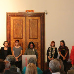 Students involved in The Ikat Project at the exhibition opening, University of Applied Arts, Vienna