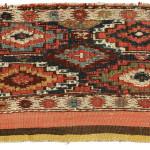 Sumakh mafrash front panel (back), Shahsavan,  Boz Qush mountains, Hashtrud-Miyaneh region, Northwest Persia, Circa 1870, 54 x 98 cm (21.5 x 38.5 in.), Alberto Boralevi, Firenze.