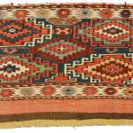 Sumakh mafrash panel (front), Shahsavan, Boz Qush mountains, Hashtrud-Miyaneh region, Northwest Persia, Circa 1870, 54 x 98 cm (21.5 x 38.5 in.), Alberto Boralevi, Firenze.
