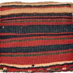 Pile chanteh with flame palmette (back), Lori tribe, West Persia, Circa 1900, 37 x 41 cm (14.5 x 16 in.), Edi Egli Collection, St. Gallen