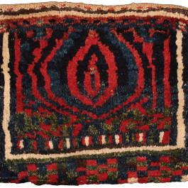 Pile chanteh with flame palmette (front), Lori tribe, West Persia, Circa 1900, 37 x 41 cm (14.5 x 16 in.), Edi Egli Collection, St. Gallen