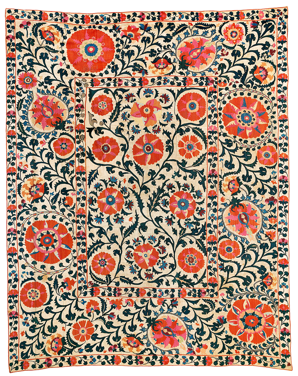 Lot 132, Suzani, Uzbekistan, 18th century, 186 x 232 cm, estimate €24,000