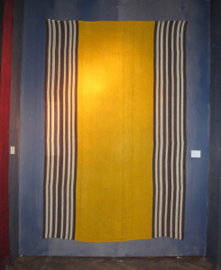 Pardeh (curtain), around 1900, made from 7 parts East-Anatolia, Kurdish 215 x 328 cm. Such a Pardeh was used as a room divider when nomads received guests in their tents, with men and women sitting seperated on each side of the curtain. 100 Kilims, Neiriz Collection