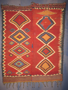 Kilim (made from two parts), late 19th century, South-Persia, Kohgilujeh, Luri tribes 172 x 214 cm. 100 Kilims, Neiriz Collection, Halle