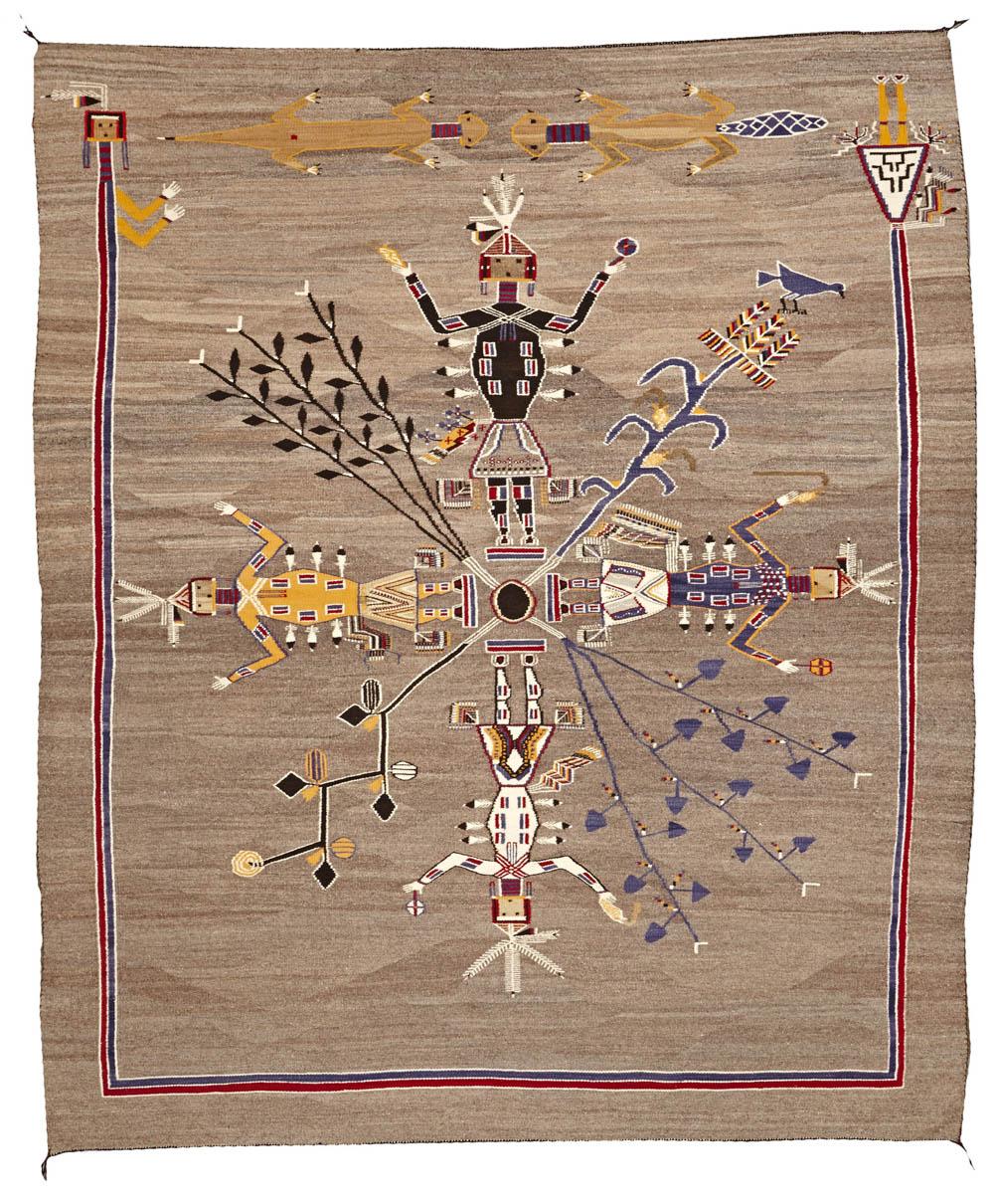 Lot 2221 - A rare Navajo sandpainting rug
