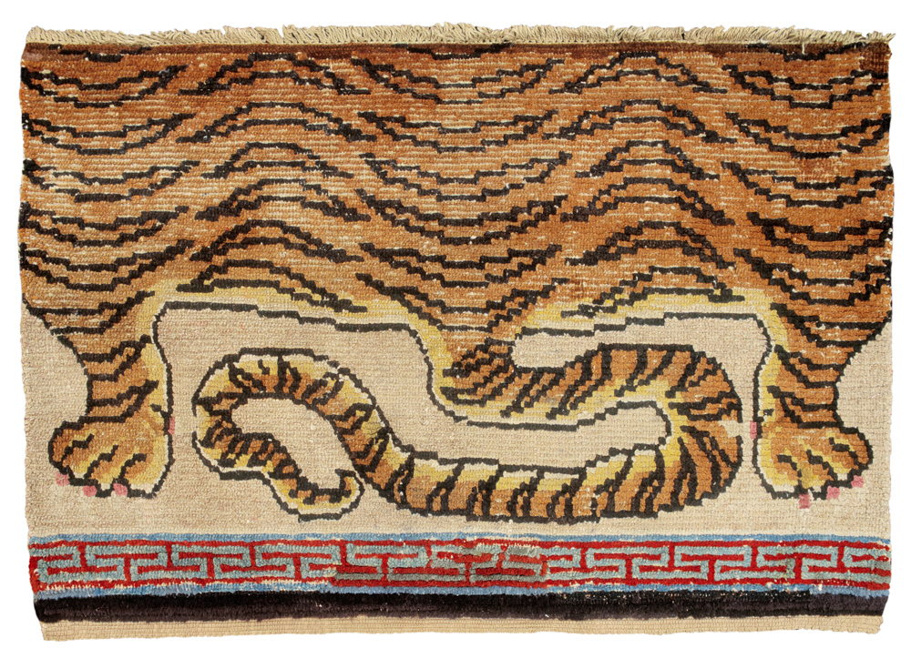 Tibetan rugs at Cologne Fine Art 2014, Seat cover with Tiger pelt, 19th century, 97 x 66 cm