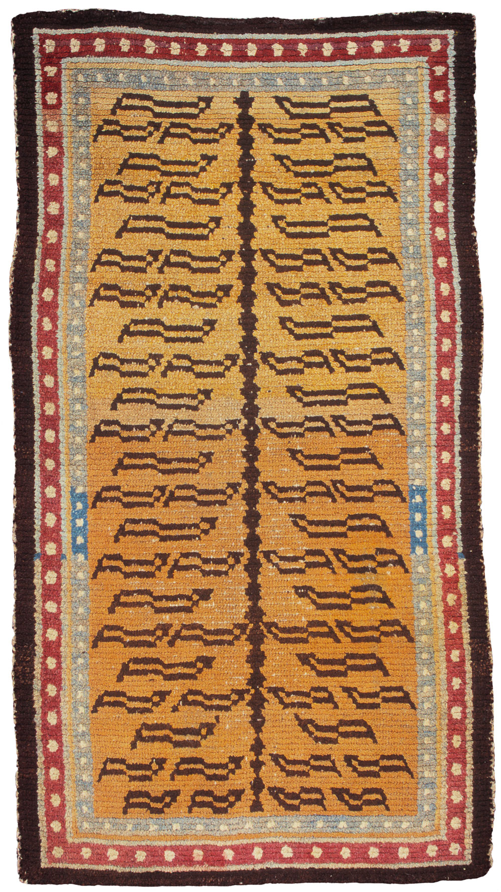Tibetan rugs at Cologne Fine Art 2014, Tiger Rug with double pearl border, 19th century, 137 x 78 cm
