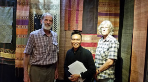 John Ang with Mr. and Mrs. Bernhart Bart, researchers and collectors of Minangkabau Songkets, Woven Connections, Samyama