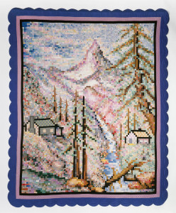 Myrtle May Fortner, American, 1880-1966; The Matterhorn Quilt, United States, 1934; hand pieced and appliquéd cotton; hand quilted; machine stitched backing. Denver Art Museum, Neusteter Textile Collection: Gift of Melvin Dorsett, 1967.89.