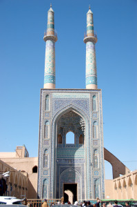 The super-tall façade of the Jameh Mosque in Yazd